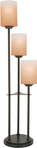 Table Lamp Bronze Finish With Amber Glass #070833-014