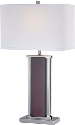 Table Lamp Polished Steel Frame with Dark Walnut Wood Finish