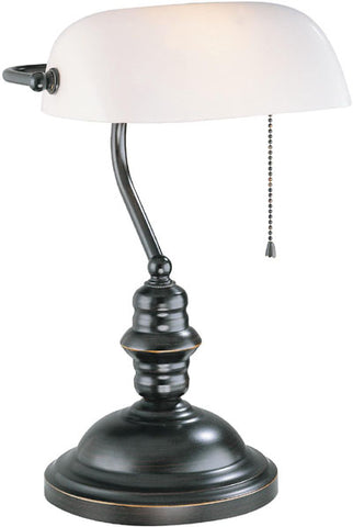 Desk lamp Dark Bronze Finish And White Glass Shade 8118-20-JSH-LS