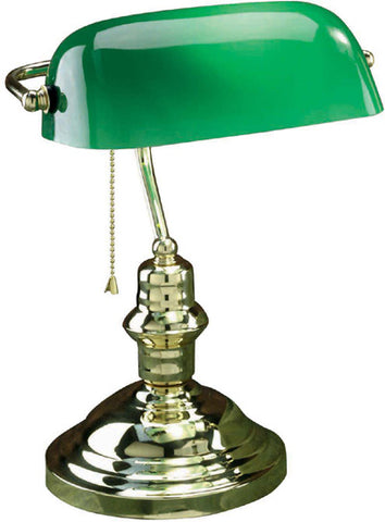 Desk lamp Polish Brass And Green Glass Shade 8-118-20-JSH-LS