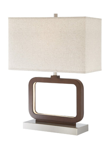Table Lamp  Walnut and Brushed Nickel  Metal  Linen Shade 330118-23074