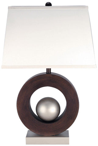 Table Lamp Dark Walnut and Satin Steel  with Off White Shade #070833-14