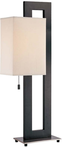 Table Lamp Black And Polished Steel Finish  And Fabric  Shade #070833-14