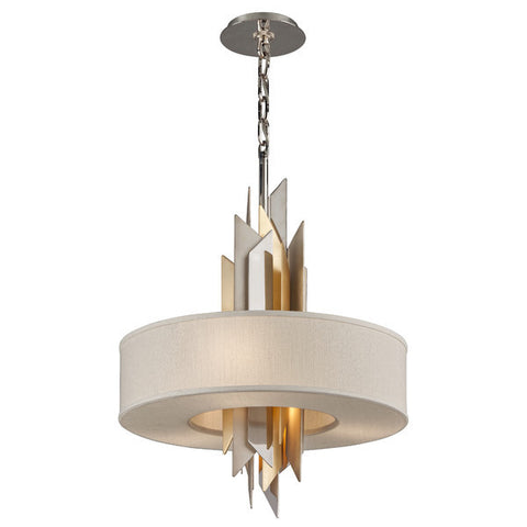 Pendant Ivory Linen Shade with Polished And Silver Gold 020214-16