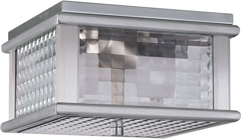 Outdoor Flush Mount Brushed Aluminum Finish And Clear Checkered  Glass #160940-452