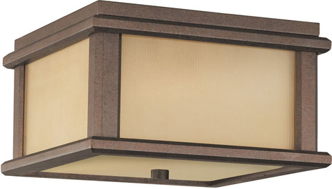 Outdoor Flush Mount Bronze Finish And Cream Glass #160940-450