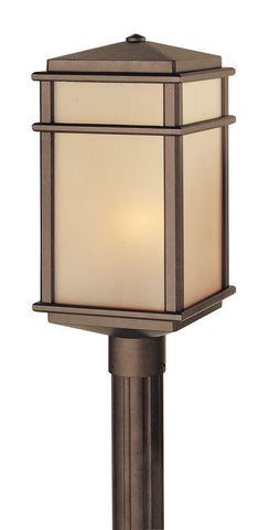 Outdoor Post Light Bronze Finish And Cream Glass #190940-450