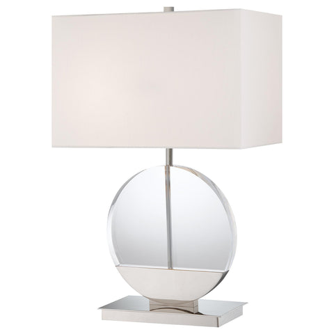 Table Lamp Polished Nickel and Crystal #070824-105