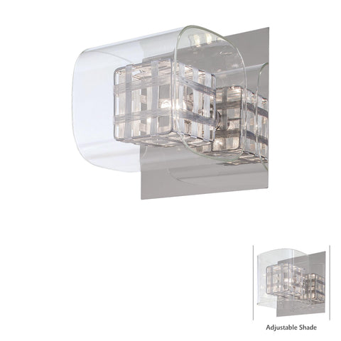 Indoor Wall Light Chrome Finish And Glass #100824-14