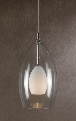 Mini Pendant Brushed Nickel And Clear And Frosted Glass #030823-14