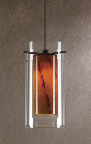 Mini Pendant Bronze Finish And Clear and Amber #030823-14