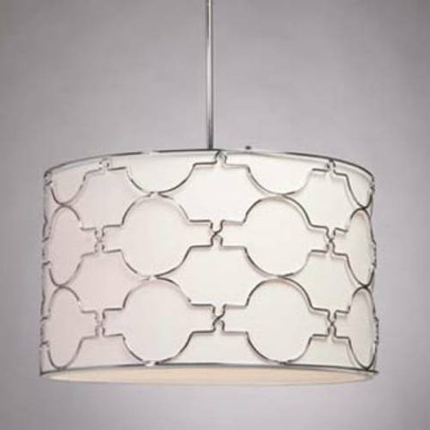 Pendant Chrome Finish With White Linen Shade with Chrome Metal Detailed #020807-33