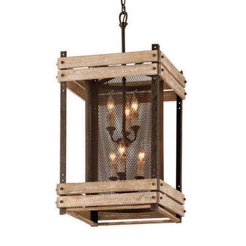 Pendant Rusty Iron and Wood 480220-16