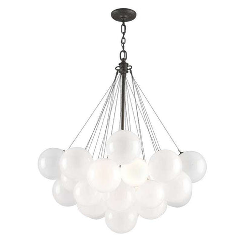 Chandelier Black  and Polished Nickel Finish and opal Glass Shades 014803-16