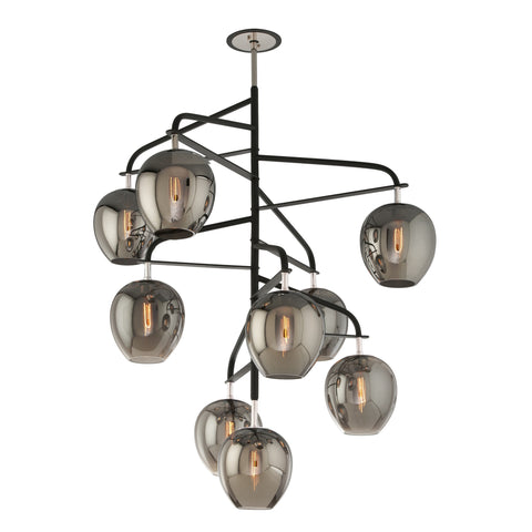 Chandelier  Black Iron and Smoke Glass 480120-16