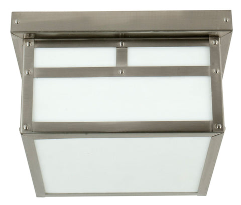 Outdoor Flush Mount Stainless Steel Finish With Opal Glass 1618- CRFM