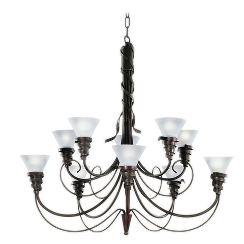 chandelier Bronze and Gold Leaf Finish And Frosted Glass #010801-14