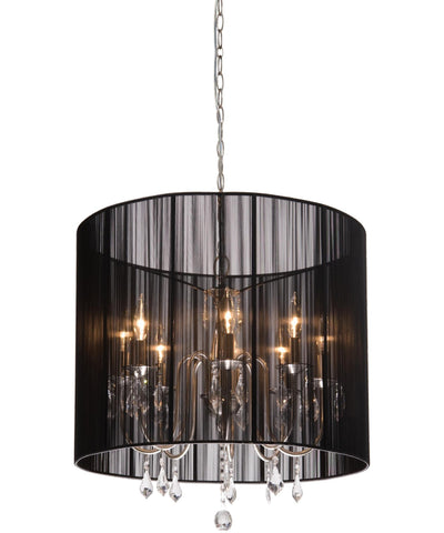 Pendant Polished Nickel Finish And Crystal Accents With Silk String Black Shade #020807-28 FP
