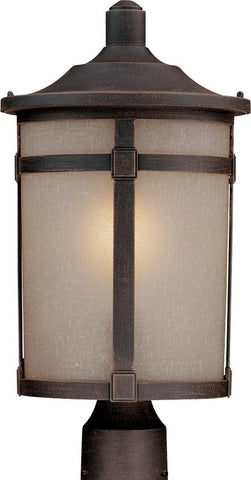Outdoor Post Lamp Bronze Finish And Frosted Glass #190907-015