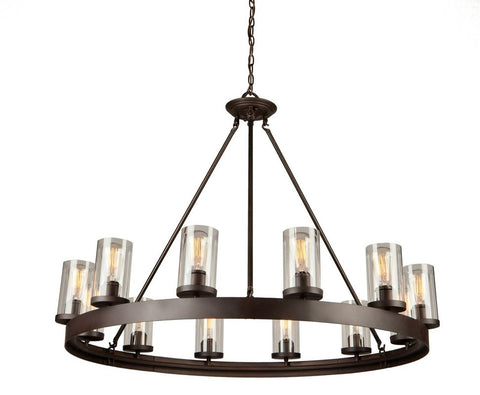 Chandelier Dark Bronze Finish With Clear Glass Shades #010807-015