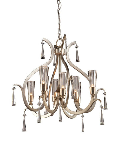 Chandelier Silver Leaf Finish And Clear Glass With Clear Crystal Drops #010807-014