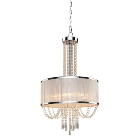 Chandelier Chrome finish And Silk Light Silver Shade With Crystal 01-118-JSH-7-899