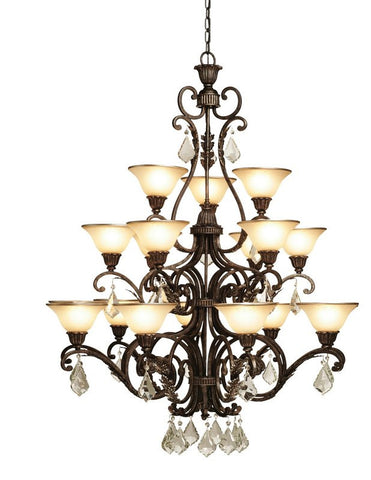 Chandelier Bronze Finish And Cream Glass  With Crystal Clear Drops#010807-014