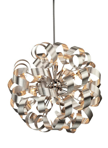 "Chrome Finish With Chrome Interior Cluster 24"" Modern Pendant #020807-014 FP"