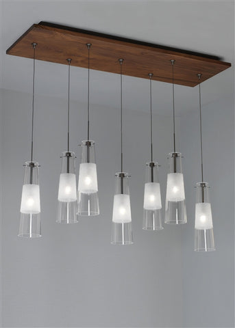 Chandelier Walnut  and Satin Nickel Finish  And Transparent and hand Etched Glass Shades #010834-14