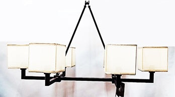 Chandelier Bronze Finish With Square Cream Shades 01-118-JSH-CH54
