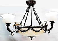 Chandelier Antique Bronze Metal Frame With Hand Carved Alabaster Stone 01-118-JSH-CH71
