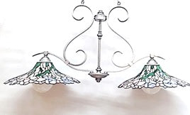 Chandelier Satin Nickel Metal Finish With Glass Tiffany Shades  01-118-JSH-CH76