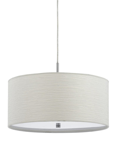 Pendant Satin Nickel Finish With Cream Fabric Shade #020823-014