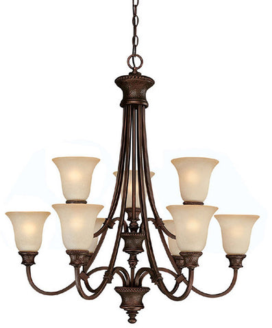 Chandelier Burnished Bronze Finish With Mist Scavo Glass 141-Cap-618