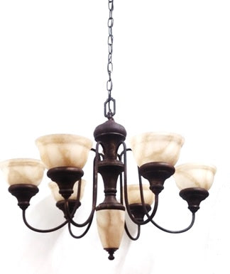 Chandelier Bronze Metal Finish with Camel Glass Shades 01-118-JSH-CH13