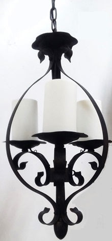 CHANDELIER DARK BRONZE FINISH METAL WITH 3 WHITE COVERS 01-118-JSH-CH15