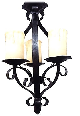 CHANDELIER IRON AND GLASS  BRONZE FINISH 01118-JSH-CH16