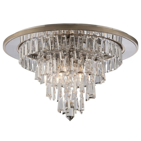 Flush Mount Silver Leaf Finish And Crystal Accents #140802-14