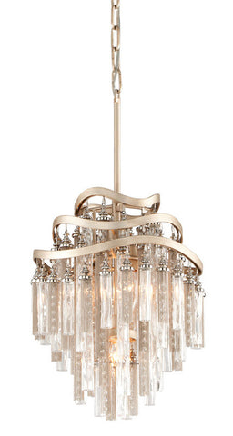 Chandelier Silver Leaf Finish And Clear Tubular Glass #010802-014