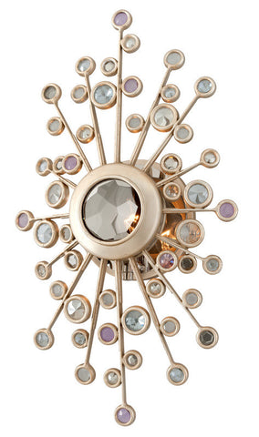 Indoor Wall Light Silver Leaf Finish And Multicolored Glass #100802-014 FP