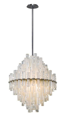 Chandelier  Satin Silver Finish and clear and frosted Glass 010221-16