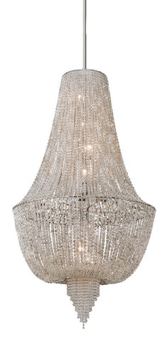 Chandelier Polished Nickel Finish And Crystal Beads #010802-014