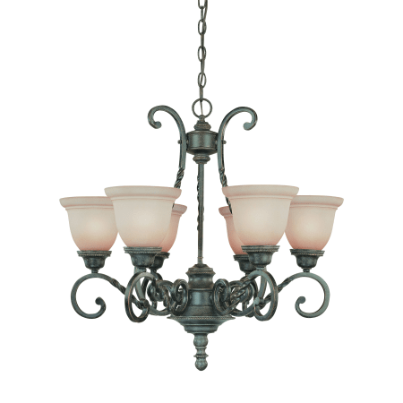 Chandelier  Forge Metal Bronze Finish and Umber Glass 1518-JSH-289