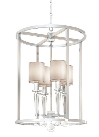 Pendant Polished Nickel Finish And Crystal Accents And White Linen Shades #020854-14