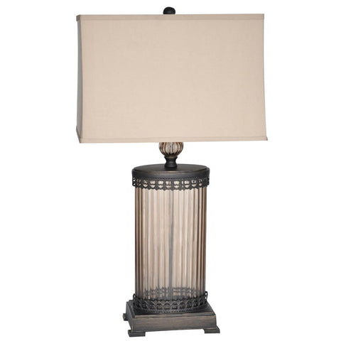 Table Lamp Bronze Finish And Glass With Cream Linen Shade #070845-14
