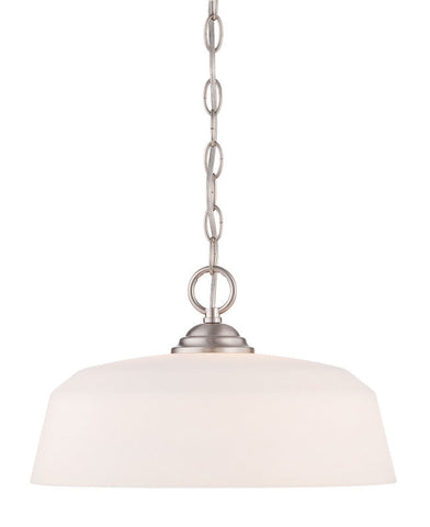 Pendant Brushed Nickel Finish And Opal Glass Shade #020812-015