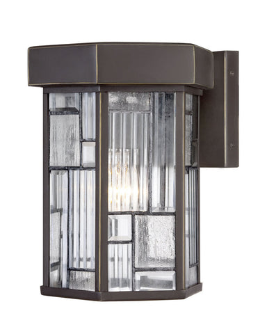 Outdoor Wall Light Bronze Finish And Clear, Seedy and Ribbed Glass #170912-015