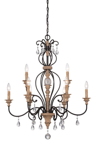 Chandelier Black Iron  Finish and  Wood and Crystal Accents #010812-015