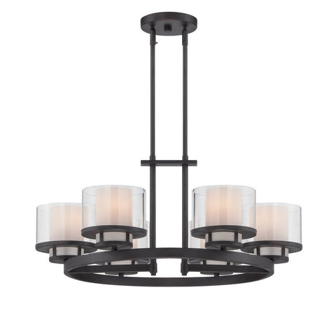 Chandelier Bronze Finish With Clear and Frosted Glass #010812-015