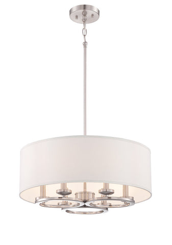 Pendant Satin Platinum Finish With off White Linen Shade #020812-015
